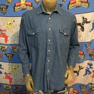 Vintage Denim Jean Wrangler Western Snap Shirt L